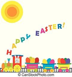 uova, treno, cartone animato, colorato