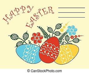 uovo di pasqua, cartolina auguri, felice