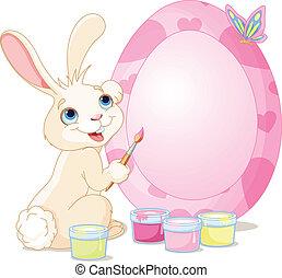 uovo di pasqua, coniglietto, pittura