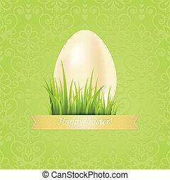 uovo di pasqua, floreale, fondo., pasqua, scheda, con, nastro