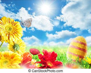 uovo di pasqua, in, uno, prato, su, uno, soleggiato, primavera, giorno