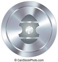 uovo di pasqua, su, industriale, bottone