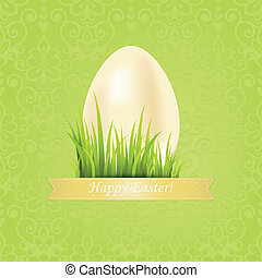 uovo, fondo, nastro, floreale, pasqua, Scheda