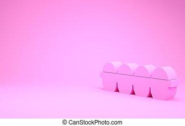 uovo, icona, rosa, concept., render, fondo., illustrazione, minimalismo, isolato, scatola, pollo, 3d