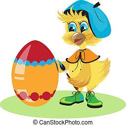 uovo pollo, tinta, per, pasqua