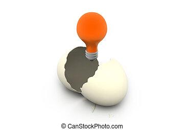 uovo, splendere, lampada, rotto