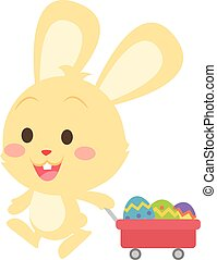 uovo, tema, coniglietto pasqua