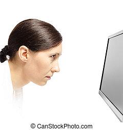 upřený, manželka, monitor, počítač