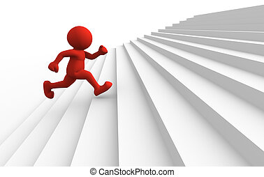 Up - 3d people character running up on stairs - 3d render