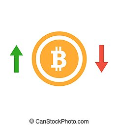Up and down arrows bitcoin course flat icon. Concept of...