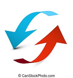 Up and Down Arrows. Blue and Red 3D Vector Arrow Isolated on White Background.