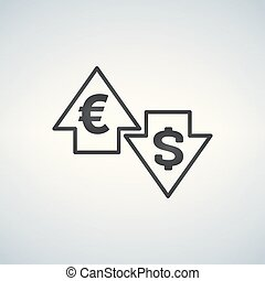 Up and Down arrows with dollar and euro sign in flat icon design on white background vector
