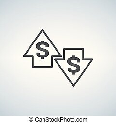 Up and Down arrows with dollar sign in flat icon design on white background vector