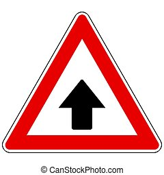 Up arrow and attention sign