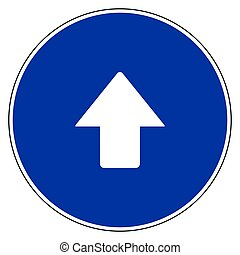 Up arrow and blue sign