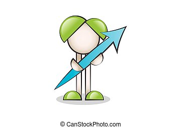 Up Arrow and Cartoon Characters