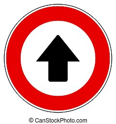Up arrow and prohibition sign
