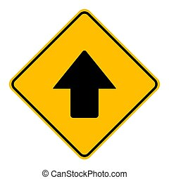 Up arrow and road sign