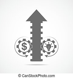 Up arrow and two gears. Vector illustration. The concept of...