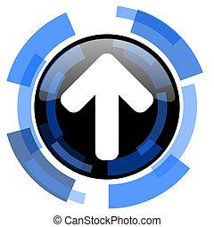 up arrow black blue glossy web icon