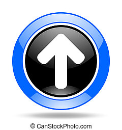 up arrow blue and black web glossy round icon