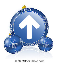 Up arrow blue christmas balls icon