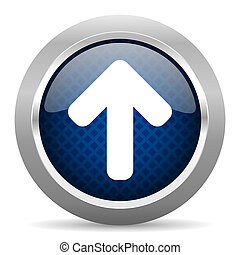 up arrow blue circle glossy web icon on white background, round button for internet and mobile app
