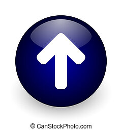 Up arrow blue glossy ball web icon on white background. Round 3d render button.