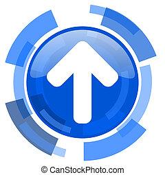 up arrow blue glossy circle modern web icon