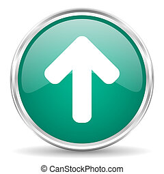 up arrow blue glossy circle web icon