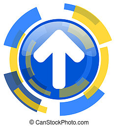up arrow blue yellow glossy web icon