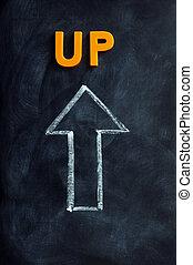 Up arrow drawn in chalk on a blackboard