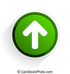 up arrow flat icon with shadow on white background, green modern design web element