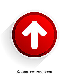 up arrow flat icon with shadow on white background, red modern design web element