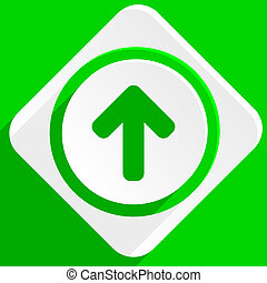up arrow green flat icon