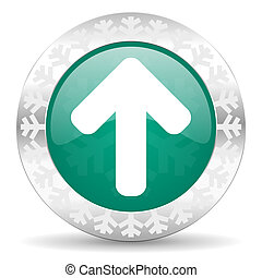 up arrow green icon, christmas button, arrow sign