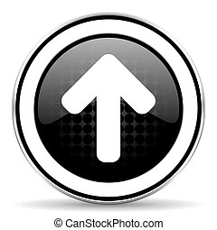 up arrow icon, black chrome button, arrow sign