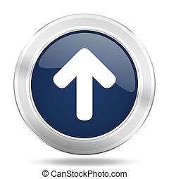 up arrow icon, dark blue round metallic internet button, web and mobile app illustration