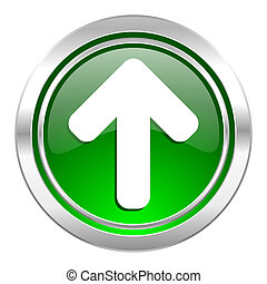 up arrow icon, green button, arrow sign