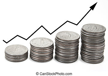 Up arrow over stacks - Black up arrow over stacks of coins ...