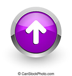 up arrow pink glossy web icon