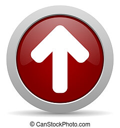 up arrow red glossy web icon