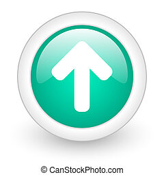 up arrow round glossy web icon on white background