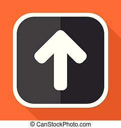 Up arrow vector icon. Flat design square internet gray button on orange background.