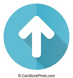 Up arrow vector icon, upload flat design blue round web button isolated on white background