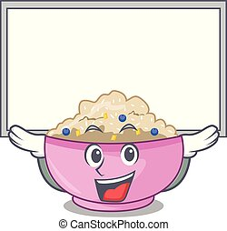 Up board character a bowl of oatmeal porridge