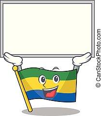 Up board flag gabon with the cartoon shape