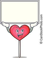 Up board heart lollipop character cartoon vector ...