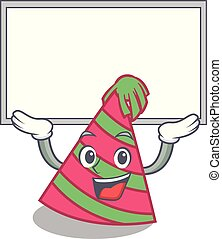 Up board party hat character cartoon vector illustration