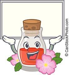 Up board rosehip seed oil in cartoon bottle vector ...